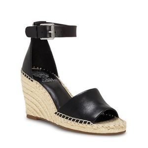 VINCE CAMUTO Leera Wedge Ankle Strap Leather BLK
